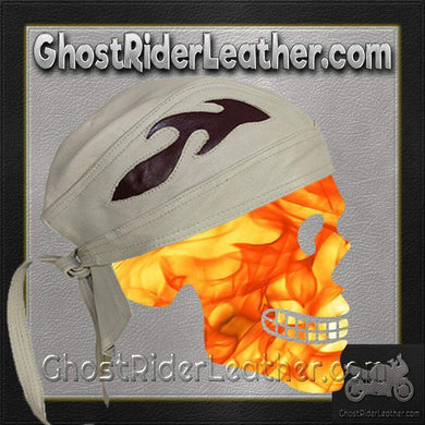 Beige Leather Skull Cap with Brown Flames / SKU GRL-AC7-BEIGE-DL - Ghost Rider Leather