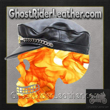 Leather Cap Hat with Chain and Eagle / SKU GRL-AC96-DL-leather chain cap-Ghost Rider Leather