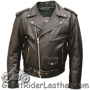 Mens Leather Motorcycle Jacket - Up To Size 66 - SKU GRL-AL2001-AL - Ghost Rider Leather