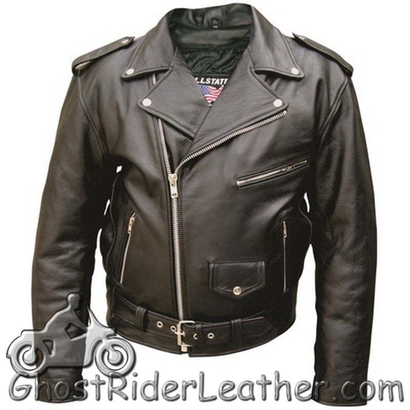 Mens Classic Style Leather Motorcycle Jacket - Up To Size 68 - SKU GRL-AL2001-AL