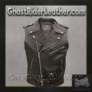 Classic Style Sleeveless Motorcycle Jacket / SKU GRL-AL2012-AL-leather motorcycle jacket-Ghost Rider Leather