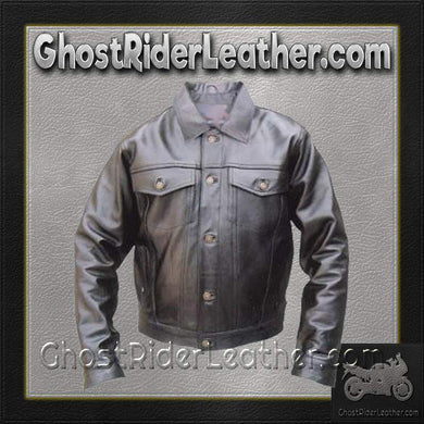 Denim Style Leather Biker Jacket / SKU GRL-AL2013-AL-leather motorcycle jacket-Ghost Rider Leather
