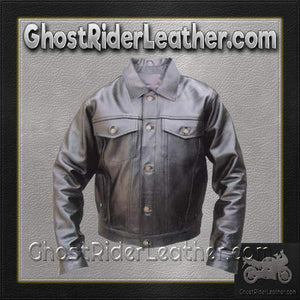 Denim Style Leather Biker Jacket  / SKU GRL-AL2013-AL - Ghost Rider Leather