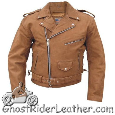 Mens Classic Style Brown Leather Motorcycle Jacket - Up To Size 60 - SKU GRL-AL2015-AL - Ghost Rider Leather