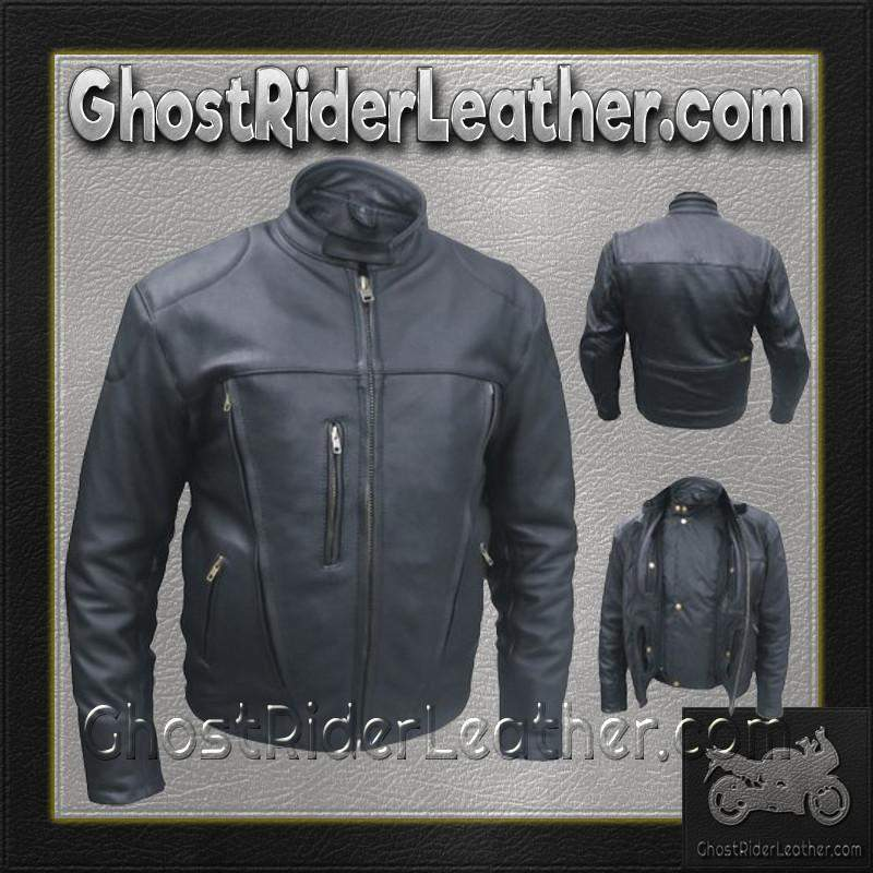 Mens Euro Racer Biker Leather Jacket With Vents / SKU GRL-AL2044-AL-leather motorcycle jacket-Ghost Rider Leather