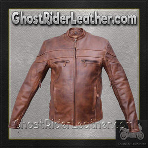 Mens Cafe Brown Touring Motorcycle Leather Jacket / SKU GRL-AL2077-AL-leather motorcycle jacket-Ghost Rider Leather