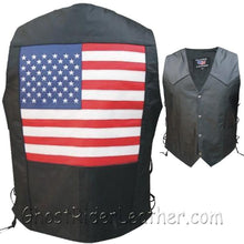 American Flag Leather Biker Vest with Side Laces / SKU GRL-AL2218-AL-leather vest-Ghost Rider Leather