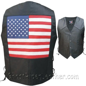 American Flag Leather Biker Vest with Side Laces / SKU GRL-AL2218-AL - Ghost Rider Leather