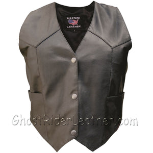 Classic Style Ladies Leather Vest with Snap Front Closure - SKU GRL-AL2300-AL-Ladies Vest-Ghost Rider Leather