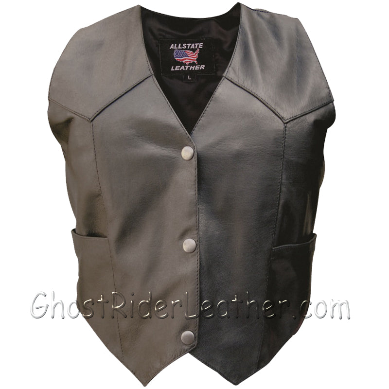 Classic Style Ladies Leather Vest with Snap Front Closure - SKU GRL-AL2300-AL - Ghost Rider Leather