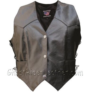 Classic Style Ladies Leather Vest with Side Laces - SKU GRL-AL2301-AL-Ladies Vest-Ghost Rider Leather