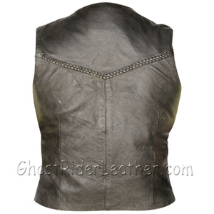 Classic Style Ladies Leather Vest with Braid Trim - SKU GRL-AL2302-AL-Ladies Vest-Ghost Rider Leather