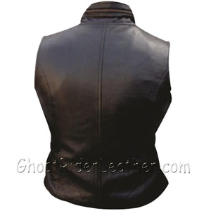 Ladies Leather Vest with Zipper Front and Zipper Pockets - SKU GRL-AL2304-AL-Ladies Vest-Ghost Rider Leather