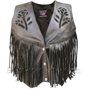 Ladies Leather Vest with Black Rose - Braid - Fringe - SKU GRL-AL2307-AL-Ladies Vest-Ghost Rider Leather