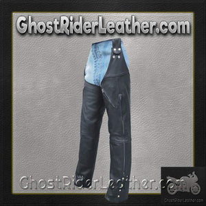 Mens Motorcycle Leather Chaps Hook To Your Belt - SKU GRL-AL2419-AL - Ghost Rider Leather