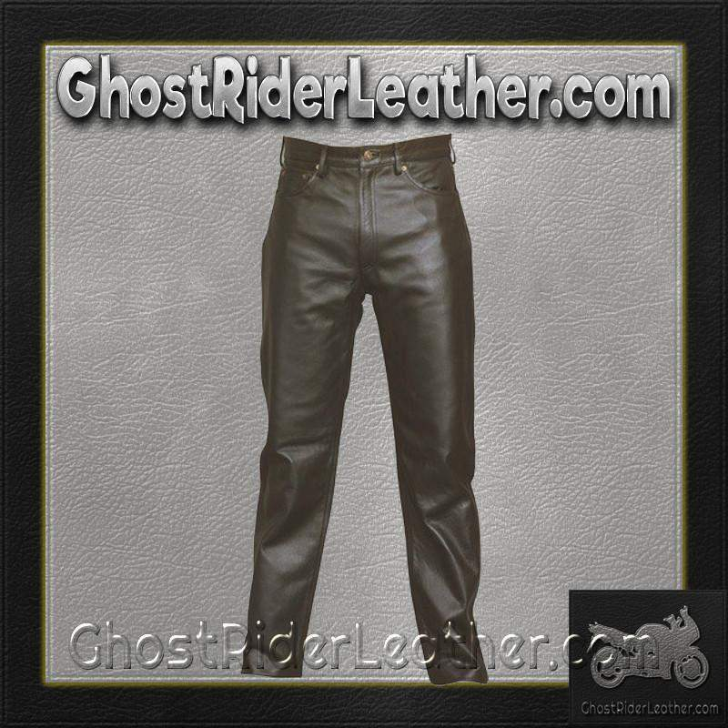 Mens 5 Pocket Leather Pants / SKU AL2500-AL-leather chaps-Ghost Rider Leather