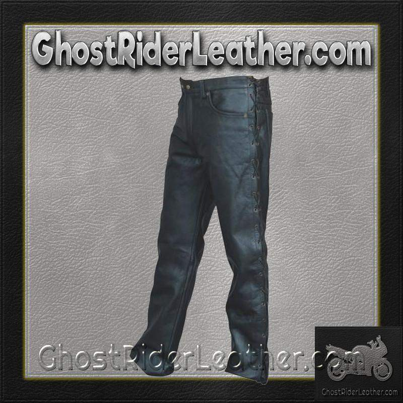Mens 5 Pocket Leather Pants with Side Laces/ SKU AL2502-AL-leather chaps-Ghost Rider Leather