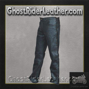 Mens 5 Pocket Leather Pants with Side Laces/ SKU AL2502-AL - Ghost Rider Leather