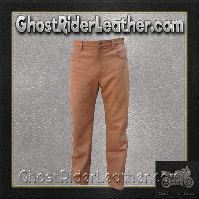 Mens 5 Pocket Brown Buffalo Leather Pants / SKU AL2505-AL-leather chaps-Ghost Rider Leather