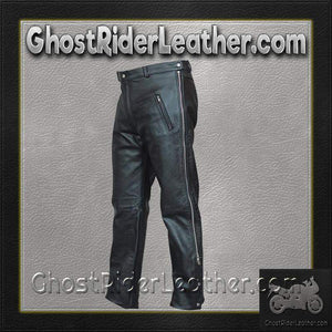 Mens Leather Chap Pants with Zipper Pockets - SKU GRL-AL2510-AL - Ghost Rider Leather