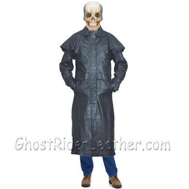 Mens Black Buffalo Leather Duster Coat - SKU GRL-AL2600-AL-leather duster-Ghost Rider Leather