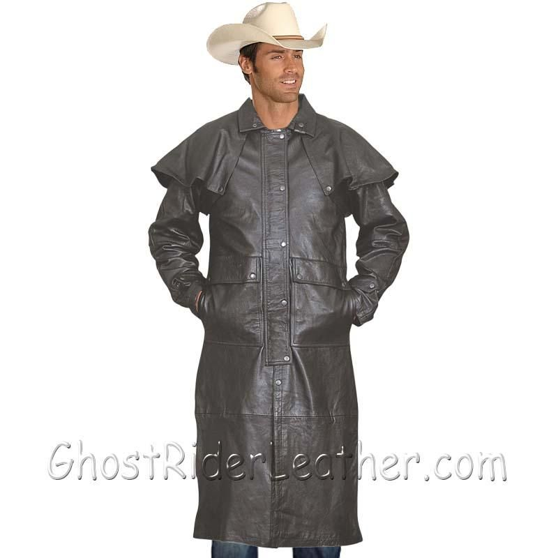 Mens Light Weight Black Buffalo Leather Duster Coat - SKU GRL-AL2601-AL - Ghost Rider Leather