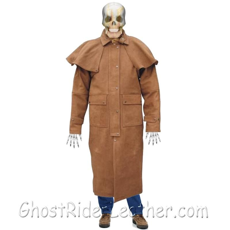 Mens Brown Buffalo Leather Duster Coat - SKU GRL-AL2602-AL - Ghost Rider Leather