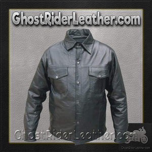 Mens Buffalo Leather Shirt with Snap Closure / SKU GRL-AL2670-AL-mens leather shirt-Ghost Rider Leather