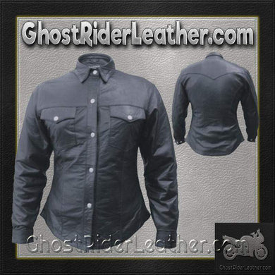 Ladies Lambskin Leather Shirt with Snap Closure / SKU GRL-AL2680-AL-ladies leather jacket-Ghost Rider Leather