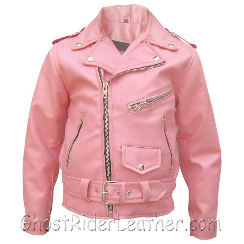 Girls - Kids Classic Biker Pink Leather Motorcycle Jacket - SKU GRL-AL2803-AL - Ghost Rider Leather