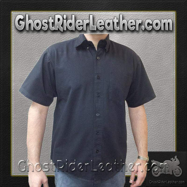 Mens Cotton Twill Mechanic Shirt With Snap Down Collar / SKU GRL-AL2910-AL-mens leather shirt-Ghost Rider Leather