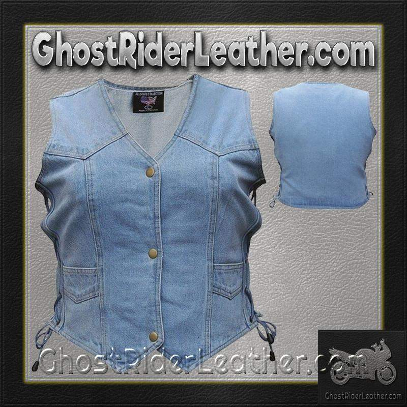 Ladies Blue Denim Vest with Side Laces / SKU GRL-AL2980-AL-denim vest-Ghost Rider Leather