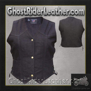 Ladies Black Denim Vest with Side Laces / SKU GRL-AL2981-AL-denim vest-Ghost Rider Leather