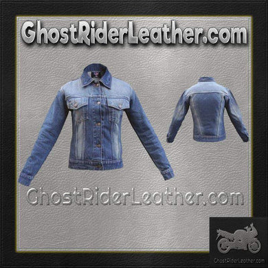 Ladies Blue Denim Jacket with Rub Off Front and Back / SKU GRL-AL2990-AL-ladies leather jacket-Ghost Rider Leather
