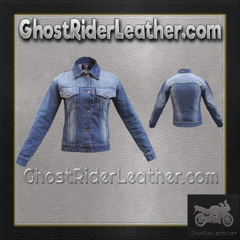 Ladies Blue Denim Jacket with Rub Off Front and Back / SKU GRL-AL2990-AL - Ghost Rider Leather