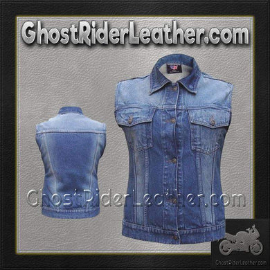 Ladies Blue Denim Vest with Rub Off Front and Back / SKU GRL-AL2991-AL-denim vest-Ghost Rider Leather