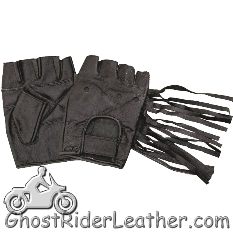 Fingerless Leather Gloves With Fringe - Tassels - SKU GRL-AL3004-AL-biker gloves-Ghost Rider Leather