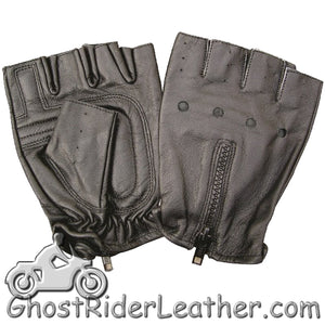 Fingerless Leather Biker Gloves With Zipper Back - SKU GRL-AL3006-AL - Ghost Rider Leather