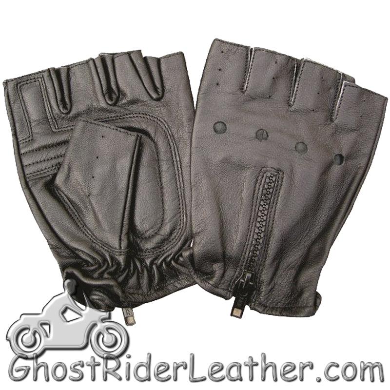 Fingerless Leather Biker Gloves With Zipper Back - SKU GRL-AL3006-AL-biker gloves-Ghost Rider Leather
