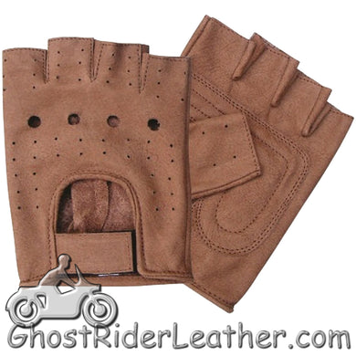 Brown Leather Fingerless Motorcycle Rider Gloves - SKU GRL-AL3010-AL-biker gloves-Ghost Rider Leather