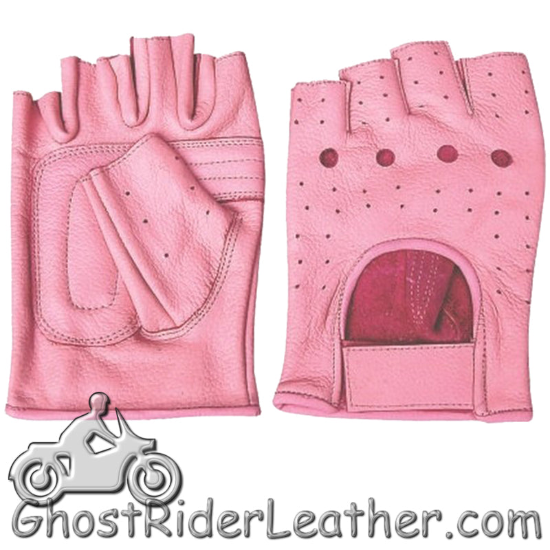 Ladies Pink Leather Fingerless Motorcycle Rider Gloves - SKU GRL-AL3012-AL-biker gloves-Ghost Rider Leather