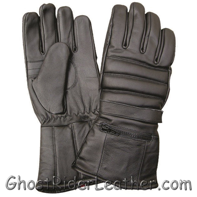 Full Finger Leather Riding Gloves with Rain Cover and Zipper Pocket - SKU GRL-AL3051-AL - Ghost Rider Leather