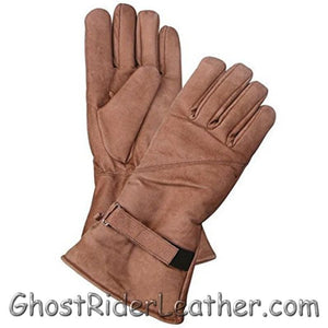 Full Finger Brown Leather Riding Gloves - Gauntlet Style - SKU GRL-AL3053-AL-leather riding gloves-Ghost Rider Leather