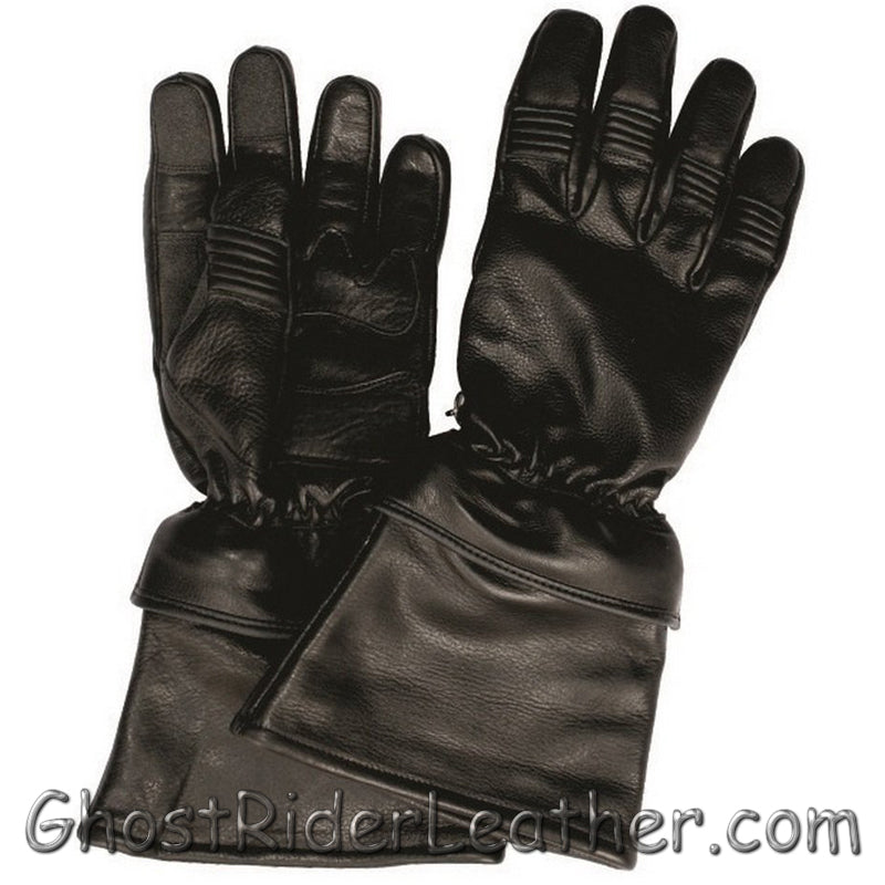 Naked Leather Riding Gloves with Removable Cuff - Gauntlet Style - SKU GRL-AL3058-AL-leather riding gloves-Ghost Rider Leather