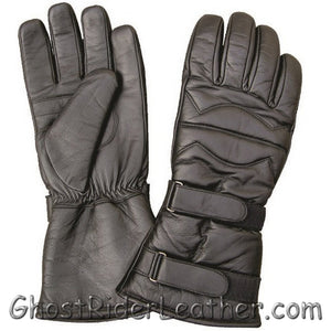 Padded Leather Riding Gloves with Two Velcro Tabs - Gauntlet Style - SKU GRL-AL3061-AL-leather riding gloves-Ghost Rider Leather