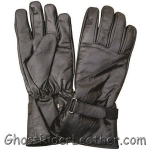 Lined Leather Riding Gloves with Velcro Tab - Gauntlet Style - SKU GRL-AL3062-AL-leather riding gloves-Ghost Rider Leather