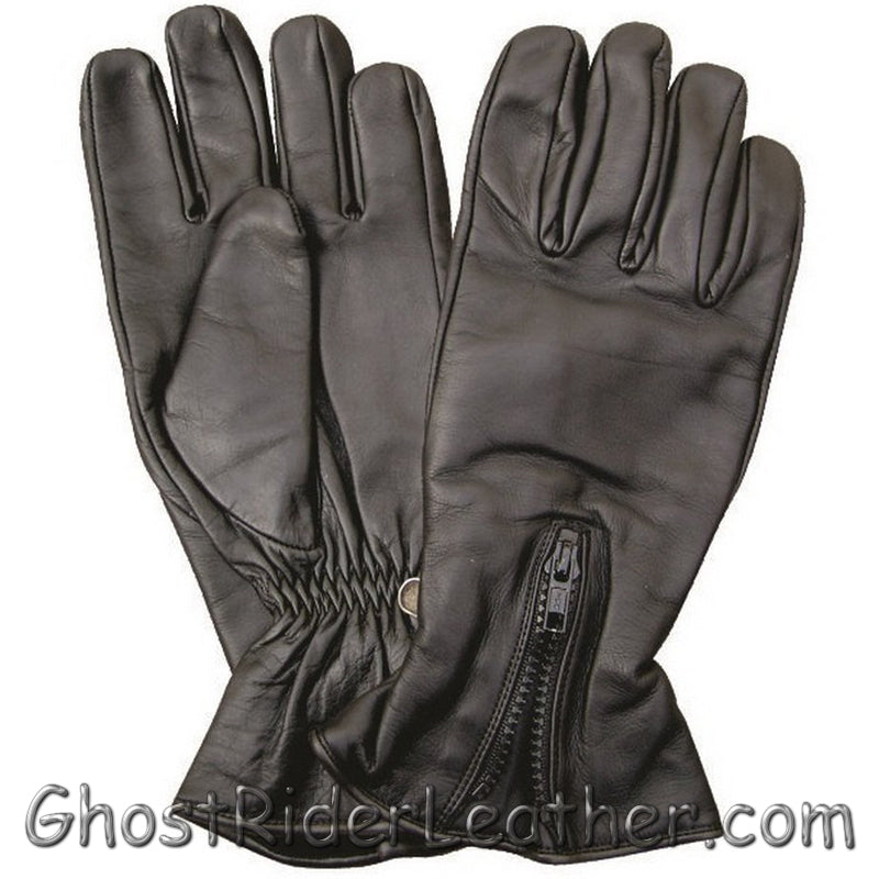 Zipper Closure Leather Motorcycle Riding Gloves - SKU GRL-AL3064-AL-leather riding gloves-Ghost Rider Leather
