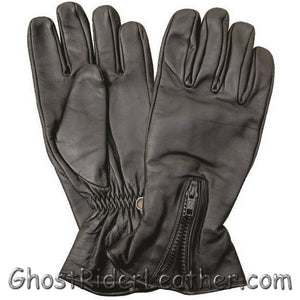 Zipper Closure Premium Naked Leather Motorcycle Riding Gloves - SKU GRL-AL3070-AL-leather riding gloves-Ghost Rider Leather
