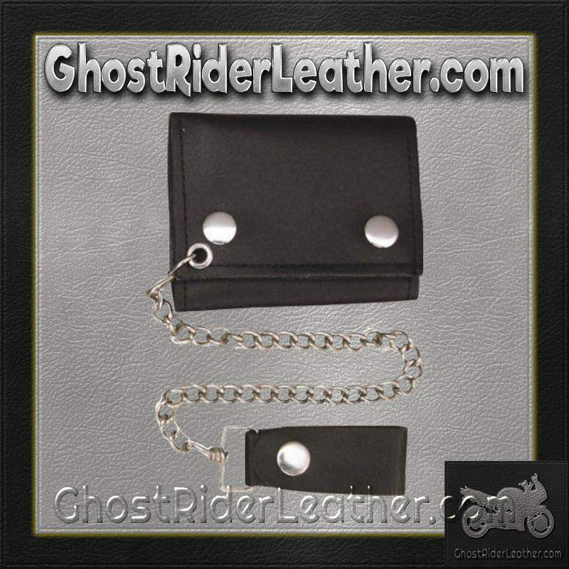 4 inch Black Leather Chain Wallet / Tri-fold / SKU GRL-AL3200-AL - Ghost Rider Leather