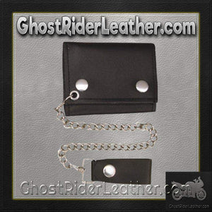 4 inch Black Leather Chain Wallet / Tri-fold / SKU GRL-AL3200-AL-chain wallet-Ghost Rider Leather